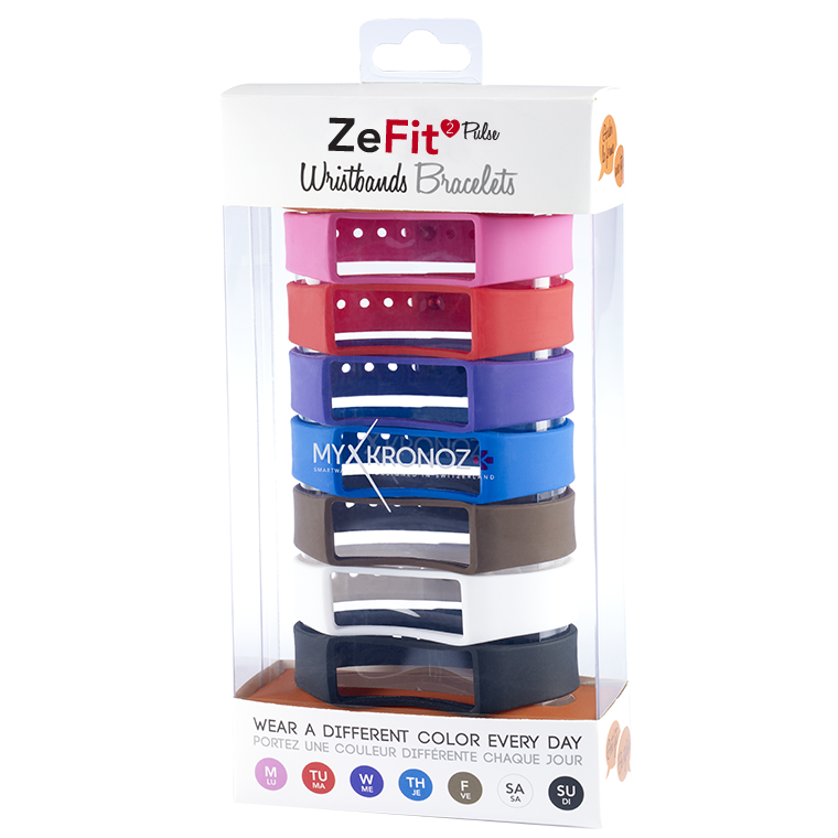 ZeFit2Pulse Wristbands x7 - Wear different colors every day - MyKronoz